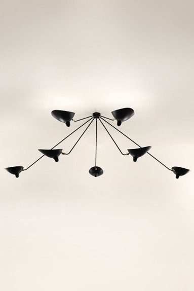 Serge Mouille - Serge Mouille Spider Ceiling Light with 7 fixed arms